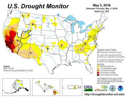 south america drought map u s drought monitor update for may 3 2016 national