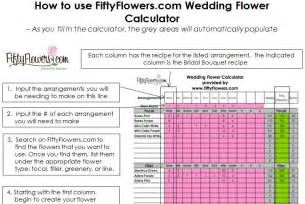 wedding flower recipe worksheet