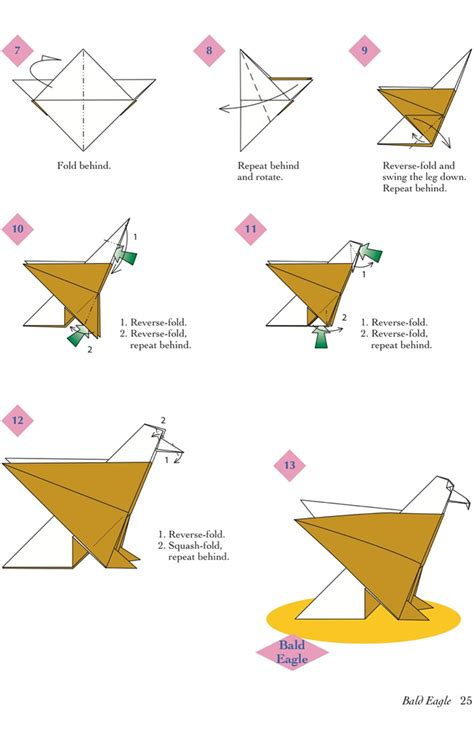 Origami Eagle Diagram - easy origami animals page 6 of 6 bald eagle 2 of 2