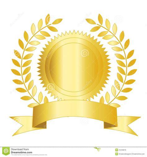 seal ribbon gold seal ribbon and laurel stock vector image 21243616