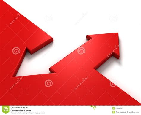 oppisite of red red and white arrows in opposite directions royalty free