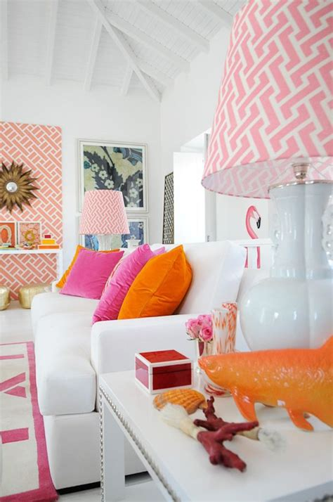 pink and orange living room design ideas pictures