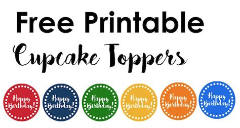 happy birthday cupcake toppers  printable paper trail design