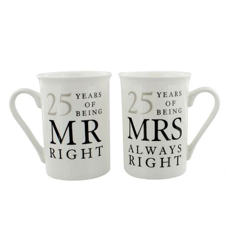 25 Wedding Anniversary Gifts by 25th Silver Wedding Anniversary Mr Mrs Mug Gift Set 25