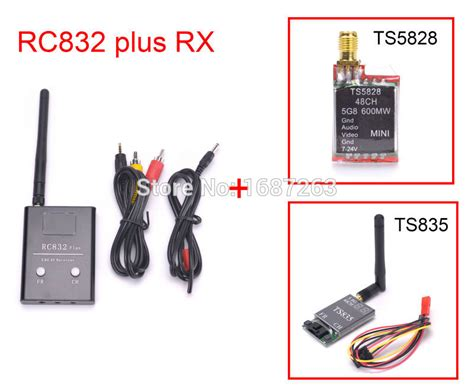 Rc832 48ch Receiver Fpv With Antena Cable Set fpv 5 8g ts5828 600mw ts835 transmitter 48ch rc832