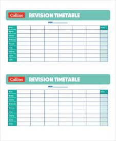 Blank Revision Timetable Template by Sle Revision Timetable Template 9 Free Documents