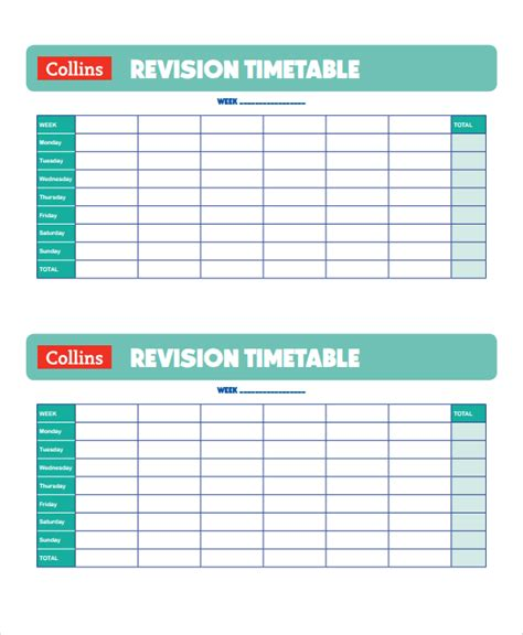 revision template sle revision timetable template 9 free documents