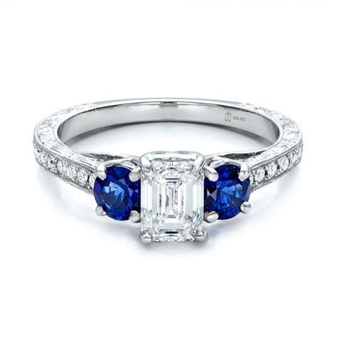 custom emerald cut and blue sapphire engagement