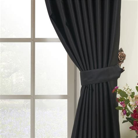 pure curtains pure black concise style polyester blackout curtain