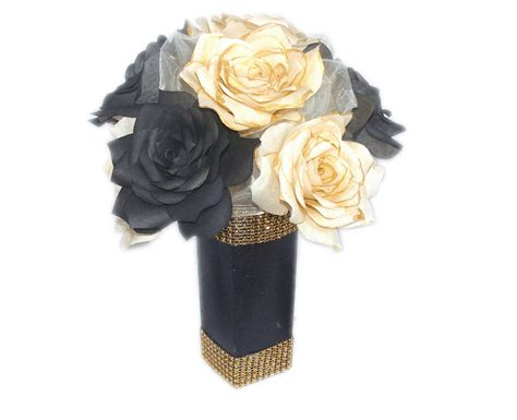 gold and black floral centerpiece paper flower table decor