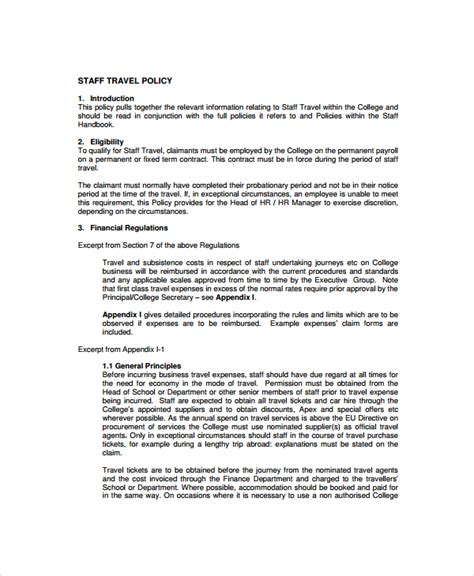 staff policy template sle travel policy template 9 free documents
