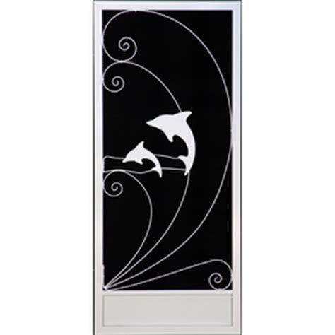 sun tek white plantation palm tree dolphin screen door