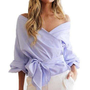 Hq 4866 Strapless Stripe Blouse Bow shop puff sleeve top on wanelo