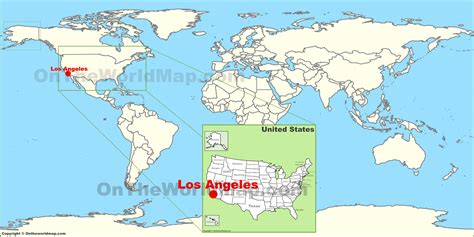 california map in world map los angeles on the world map