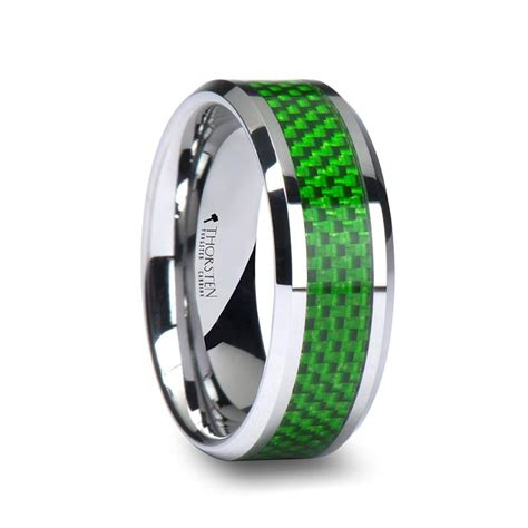 Wedding Bands Miami by Miami Tungsten Wedding Band With Green Carbon Fiber Inlay