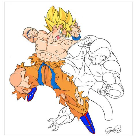 imagenes de goku vs frezer goku vs freezer coloring wip1 by zangetsun on deviantart