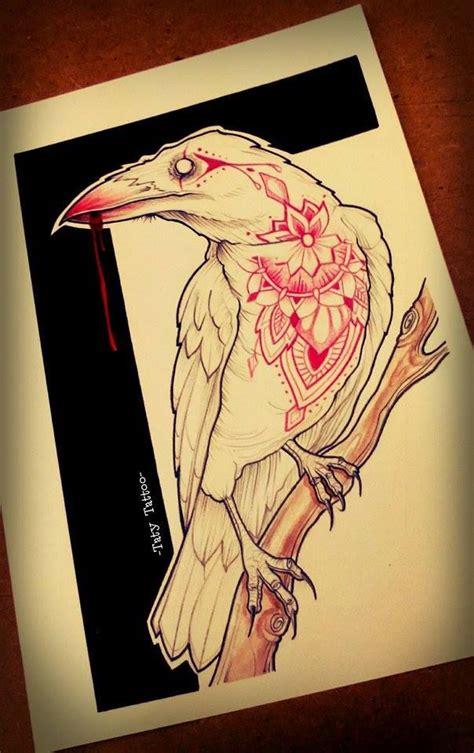geometric tattoo winnipeg crow raven white blood mandala made by taty tattoo