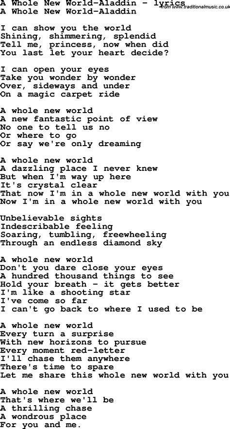 printable lyrics a whole new world love song lyrics for a whole new world aladdin