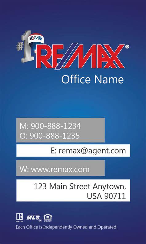 remax business card templates vertical remax business card blue design 101442