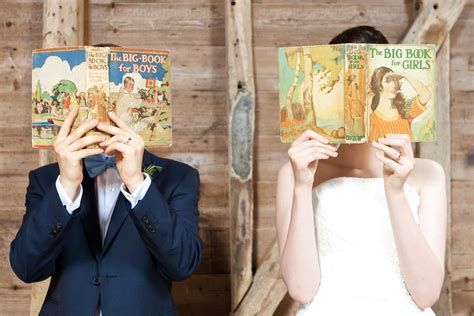 quirky book themed wedding  reading