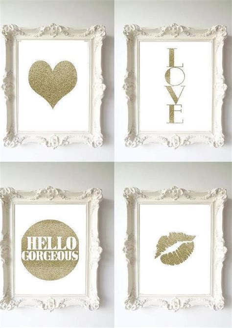 glitter home decor wall decor home decor gold glitter lips lips by