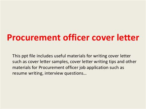 Sourcing Cover Letter by Procurement Officer Cover Letter