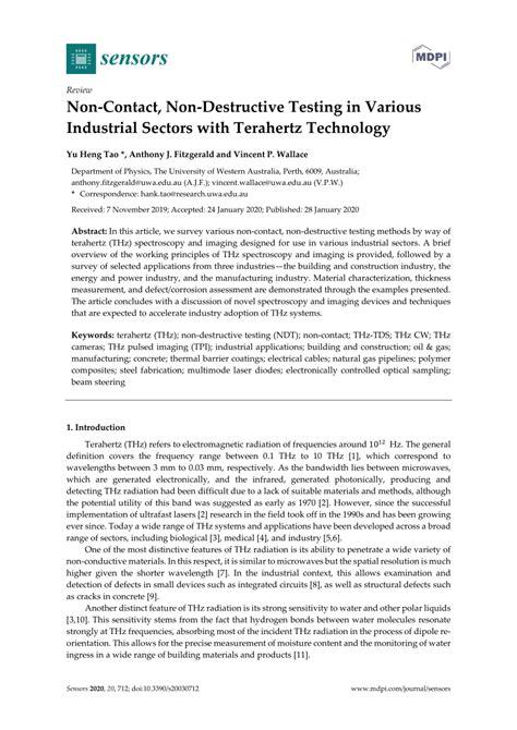 (PDF) Non-Contact, Non-Destructive Testing in Various