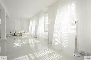 Again here is white curtains on white walls the effect is very light