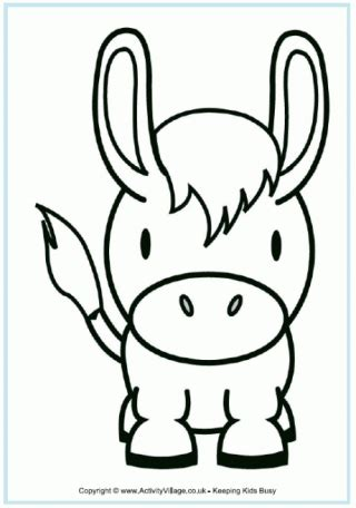 donkey head coloring page seaside colouring pages
