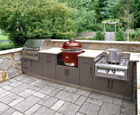stainless steel outdoor kitchen with grill cover compact this compact outdoor kitchen layout covers the bases with