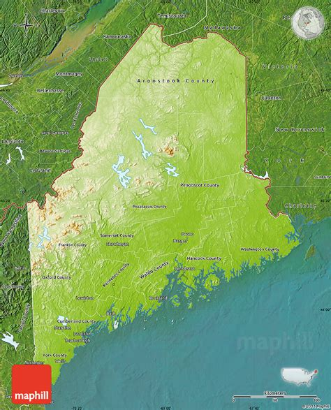 physical map of maine physical map of maine satellite outside
