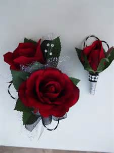 and black corsage 2 wrist corsage and boutonniere in roses