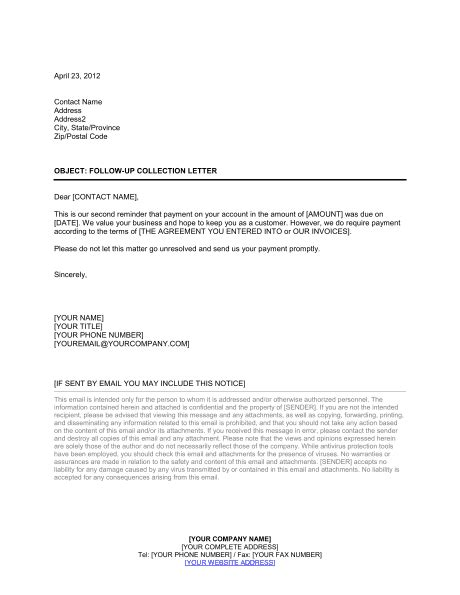 collection letter follow template word