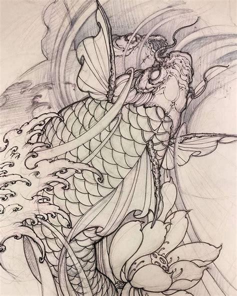 tattoo japanese sketch koi sketch koi illustration sketch tattoo drawing