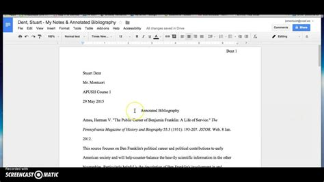apa template docs how to format mla style annotated bibliography in