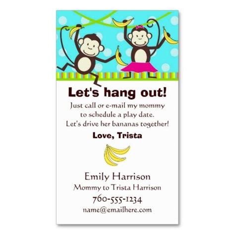 Playdate Cards Printable Template by Let S Hang Out Monkey Play Date Cards