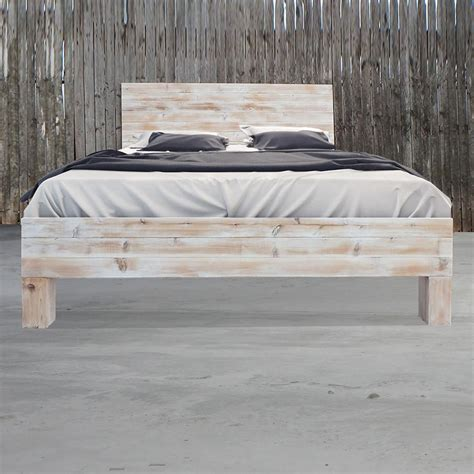 Barn Wood Bed Frames Rustic Wood Whitewashed Barn Wood Style Bed Frame Headboard Billy