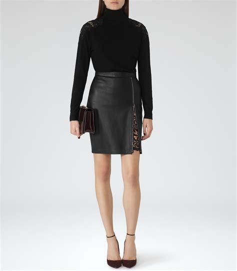 mckayla black lace insert leather skirt reiss
