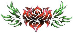 tribal rose tattoos high quality photos and flash designs