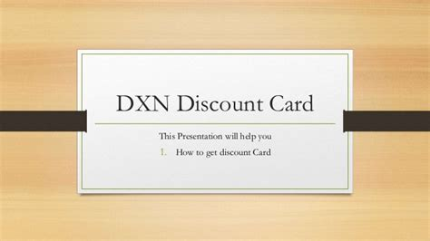discount card supplies how to get dxn products discount card