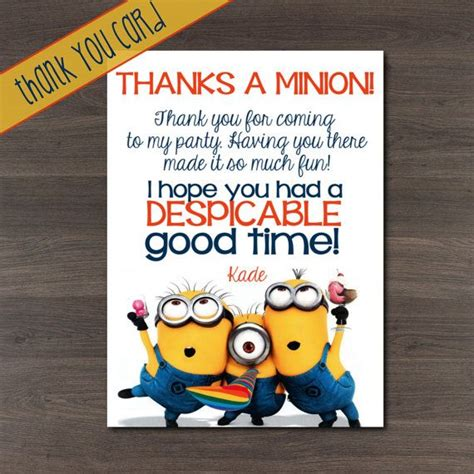 printable minion thank you cards despicable me thank you card thanks a minion 4x6 or 5x7