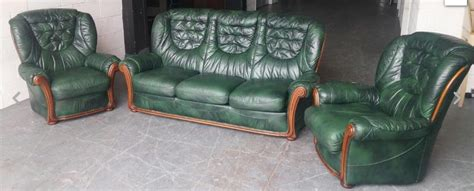 green leather sofa uk chesterfield style antique green leather italian sofa set