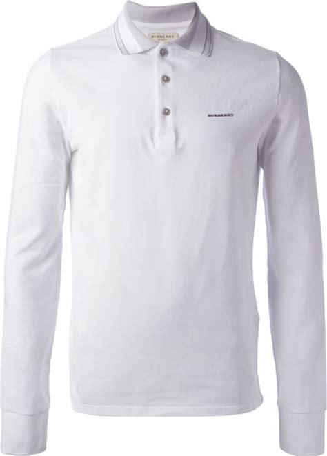 burberry long sleeve polo shirt  white  men lyst