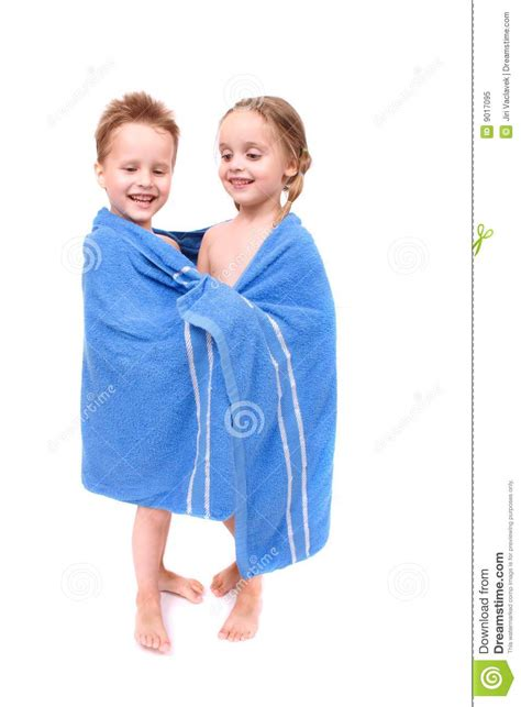 boy and girl bathroom sweet boy and girl after shower with towel royalty free