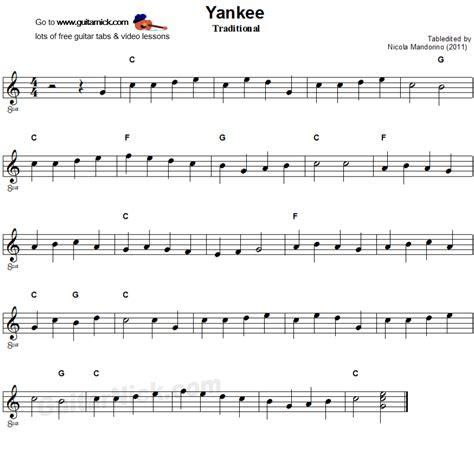 song guitar yankee doodle easy guitar lesson guitarnick