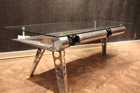 polished aluminum and glass aviation coffee table for sale