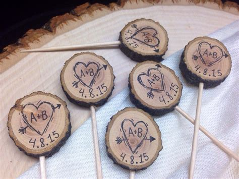 bridal shower cupcake toppers by a lollipop tree rustic wedding cupcake toppers custom initials by shelikesletters