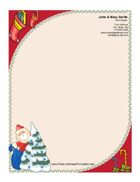 santa letterhead template santa claus and tree letterhead