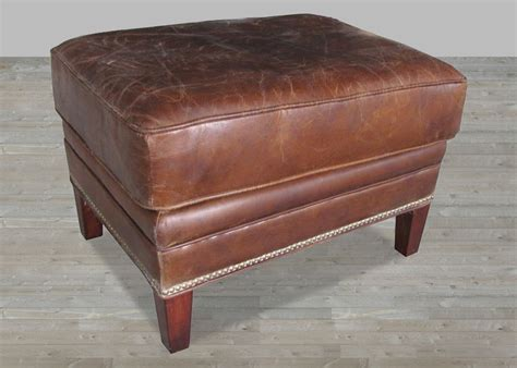 vintage brown leather ottoman brown vintage leather ottoman