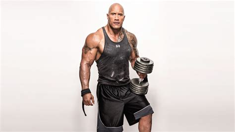 wallpaper dwayne johnson the rock weights workout 4k